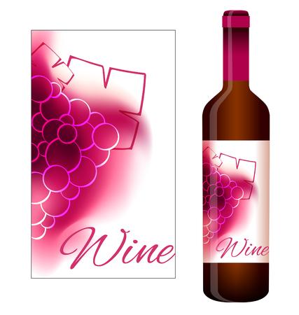 ぶどうと赤ワインのベクトル ラベル