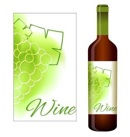 ぶどうと白ワインのベクトル ラベル  イラスト・ベクター素材