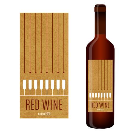 注ぐワインおよびワインのグラスとワインのベクトル ラベル