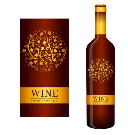 Disegno artistico di un etichetta di vino vettoriale con ornamenti floreali di viti e grappoli d'uva.
