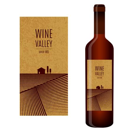 このラベルを持つ抽象的な風景とワインのボトル ワイン ベクトル ラベル
