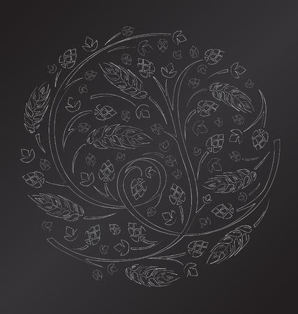 Vector chalk floral ornament with hops and malt Illustration