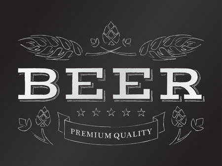 ベクトル チョーク ビール紋章ホップと麦芽。  イラスト・ベクター素材