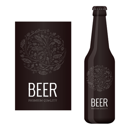 Vector beer label with chalk floral ornament of hops and malt Illustration