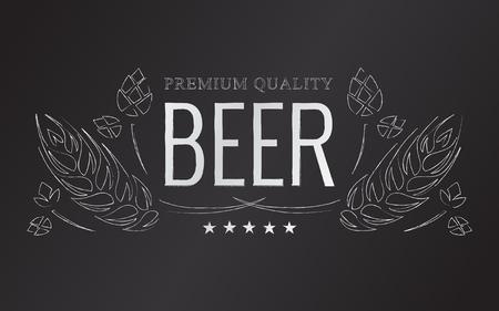 チョーク ビールのホップと麦芽ベクトルエンブレム