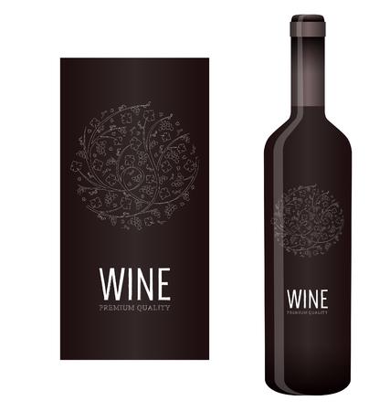 花飾りのブドウの房し、ブドウの葉のチョークとベクトル ワイン ラベル  イラスト・ベクター素材