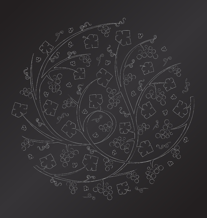 Vector chalk floral ornament of grape vines and bunches of grapes Illustration