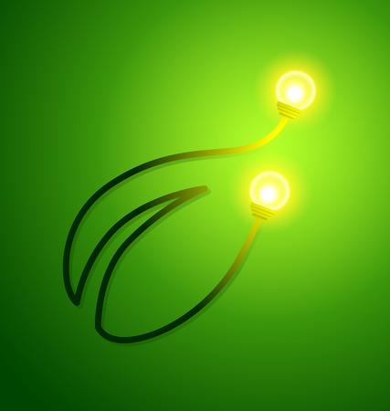 Eco friendly concept with a leaf and a light bulbs. Vector illustration