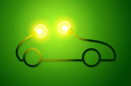 エコ電球と車のコンセプトは、緑のドライブ。ベクトル図