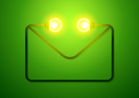 手紙と、電球エコ フレンドリーなコンセプトです。ベクトル図