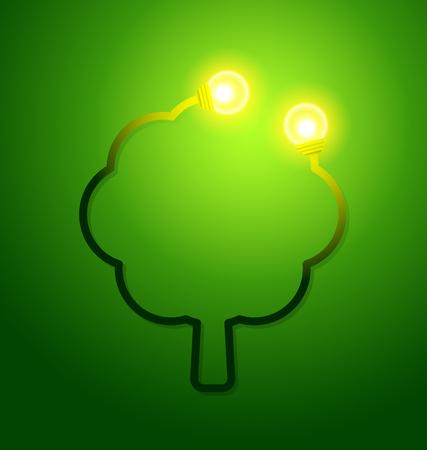 ツリーとライト電球エコ フレンドリーなコンセプトです。ベクトル図