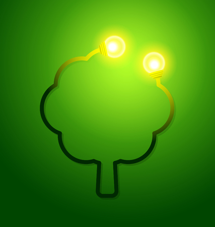 Eco friendly concept with a tree and a light bulbs. Vector illustration