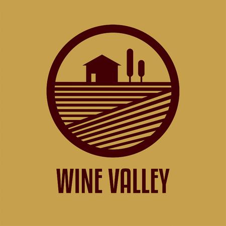 ワイン バレーの抽象的なイメージを持つベクトルのロゴ