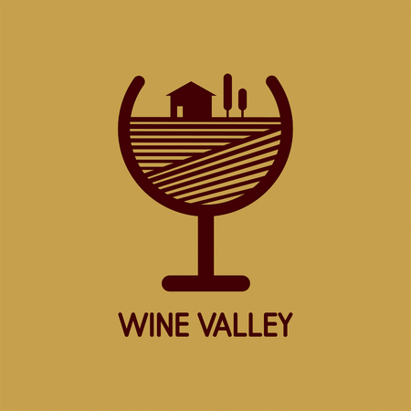 ワイングラスでワインの谷の抽象的なイメージを持つベクトルのロゴ  イラスト・ベクター素材