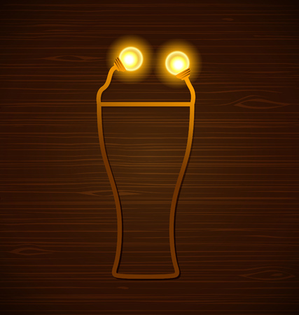ale: Vector abstract beer glass with lamps on a wooden background Illustration