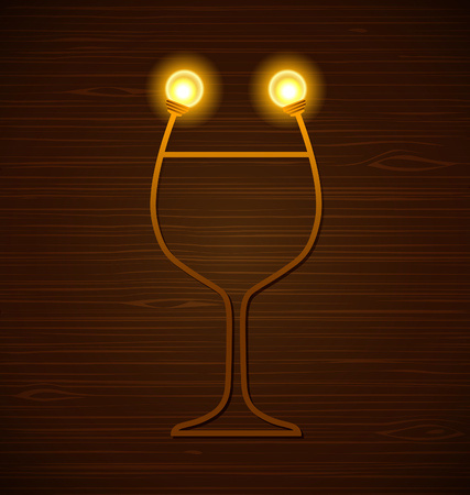 Vector abstract wine glass with lamps on a wooden background Illustration