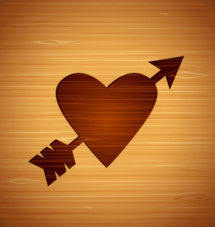Vector abstract heart on a wooden background for your design illustration. Иллюстрация