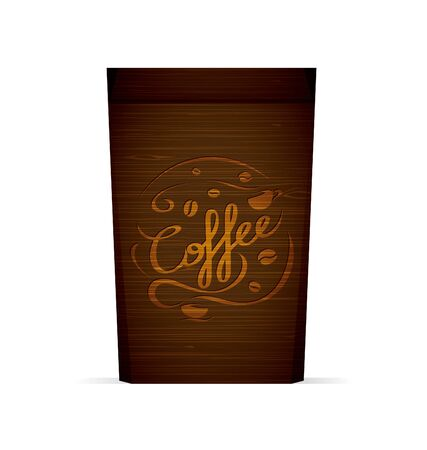 Vector packaging for coffee template with coffee and coffee cups for your design