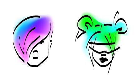 Stylish man and woman with the colored hair. Glamor Fashion concept. Vector illustration isolated.