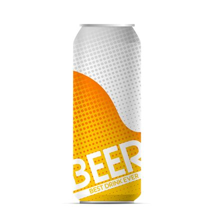 Vector beer pop art can with beer foam for your design. Best drink ever.  イラスト・ベクター素材
