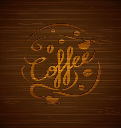 Vector composition with coffee and coffee cups on a wooden background for your design