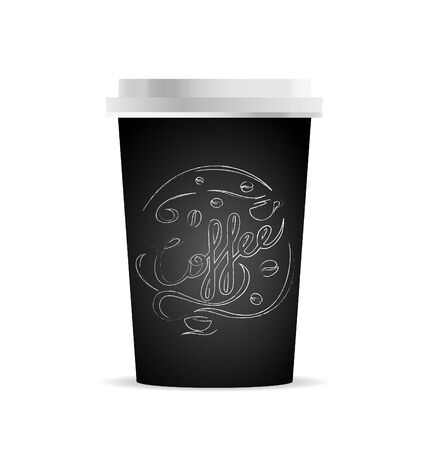 Vector coffee cup template with coffee and coffee cups for your design