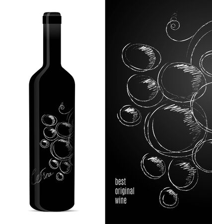 Label design for a bottle of wine with a bunch of grapes. Vector illustration.