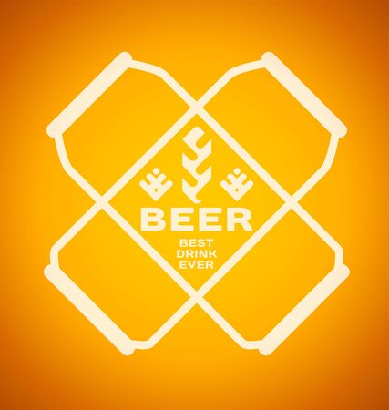 Vector template with beer cans with hops and malt on a color background. Best drink ever.