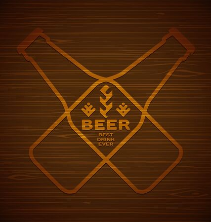 Vector template with beer bottles with hops and malt on a wooden background. Best drink ever.