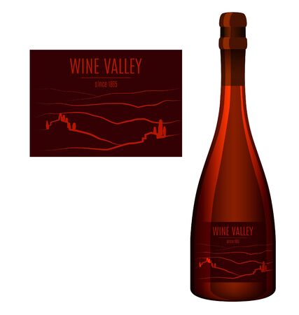 Label design for a bottle of wine with an abstract landscape. Vector illustration.