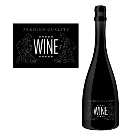 Vector label for a bottle of wine with abstract chalk composition with text and grapes.