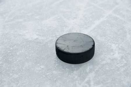 hockey puck: hockey puck on ice