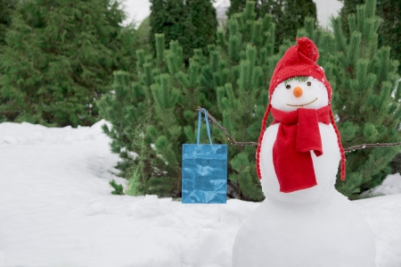 red hat: snowman with a bag Stock Photo