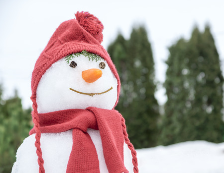 snowman with a pink hat and scarf Standard-Bild