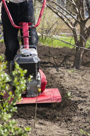 cultivator working in the garden