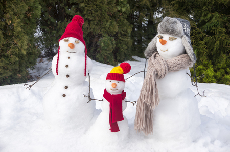 three snowmen 写真素材