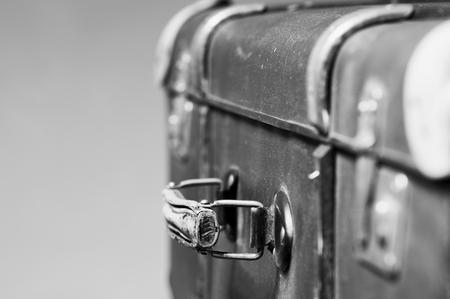 black-white picture of retro suitcase closeup Standard-Bild
