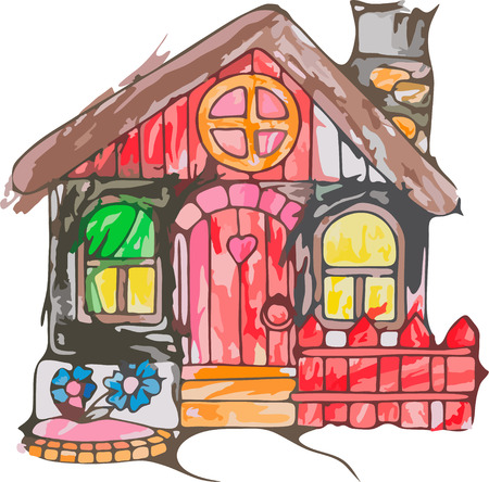 family in front of house: cartoon house