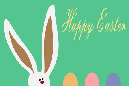 easter bunny: Greeting card with with white Easter rabbit. Funny bunny