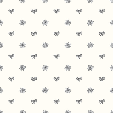 Vector seamless retro pattern, with bow tie and flower Bud Vector