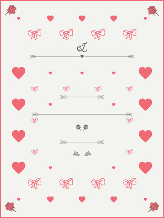 wedding reception decoration: Wedding Invitation template in pastel colours with roses, hearts and birds. Illustration