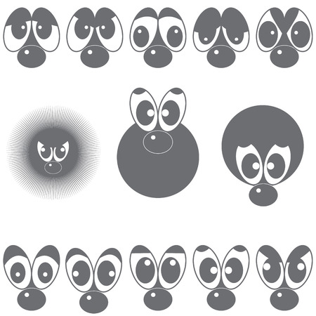 sneaky: A set of eyes with a nose depicting various expressions for inlays in any template. Illustration