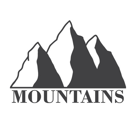 mountains abstract illustration, label with type design in vintage style