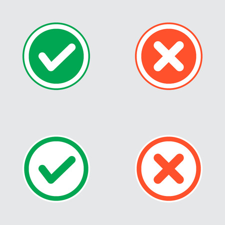 Vector Set of Flat Design Check Marks Icons. Different Variations of Ticks and Crosses Represents Confirmation, Right and Wrong Choices, Task Completion, Voting.  イラスト・ベクター素材