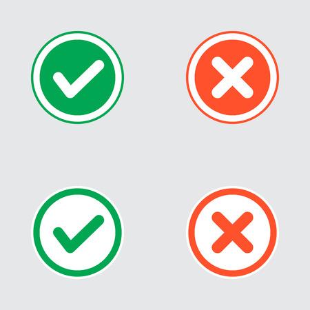 cruz roja: Vector Conjunto de Piso Diseño Compruebe Marks Iconos. Diferentes variaciones de Garrapatas y Cruces Representatividad Confirmación, derecho y decisiones equivocadas, finalización de las tareas, Votar.