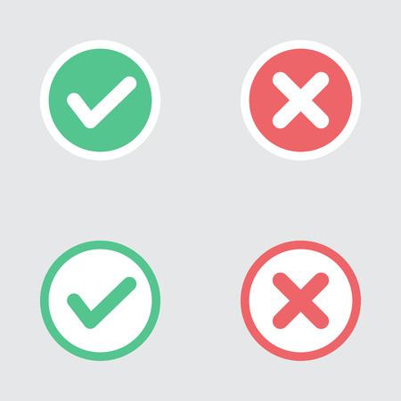 Vector Conjunto de Piso Diseño Compruebe Marks Iconos. Diferentes variaciones de Garrapatas y Cruces Representatividad Confirmación, derecho y decisiones equivocadas, finalización de las tareas, Votar.