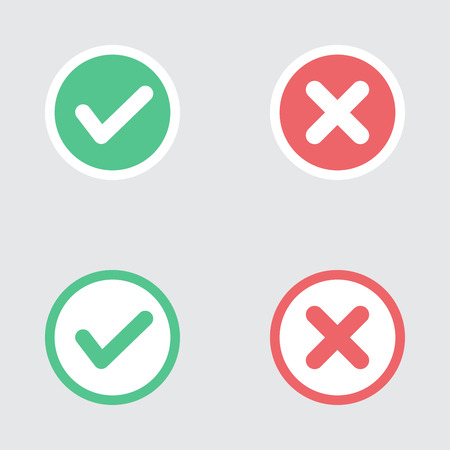 cruz roja: Vector Conjunto de Piso Dise�o Compruebe Marks Iconos. Diferentes variaciones de Garrapatas y Cruces Representatividad Confirmaci�n, derecho y decisiones equivocadas, finalizaci�n de las tareas, Votar.