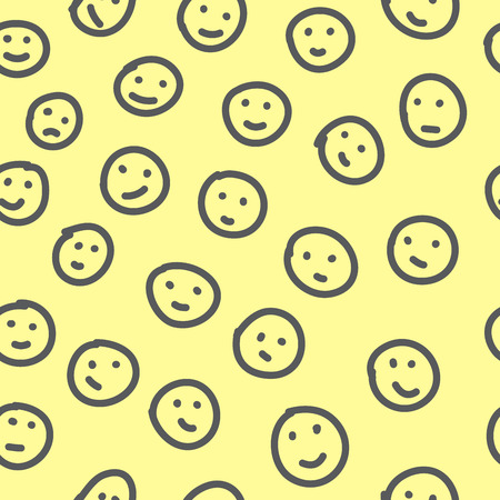smileys: Hand drawn emoticons. Seamless pattern with cheerful and happy smileys for textiles, interior design, for book design, website background