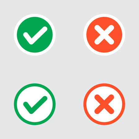 Vector Set of Flat Design Check Marks Icons. Different Variations of Ticks and Crosses Represents Confirmation, Right and Wrong Choices, Task Completion, Voting. Stock Vector - 40707178