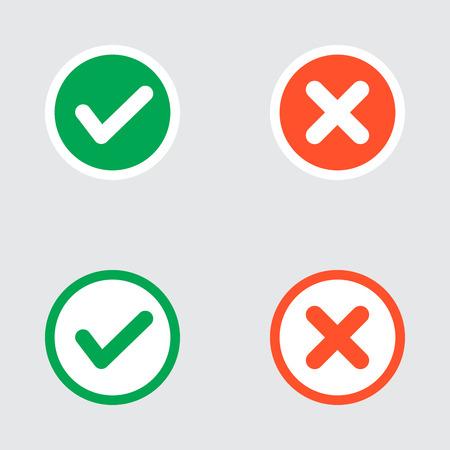 Vector Set van Flat Design vinkjes Icons. Verschillende varianten van Ticks en Bevestiging Crosses Vertegenwoordigt, Rechts en verkeerde keuzes, Task Completion, Stemmen. Stockfoto - 40707178